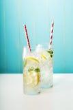 在玻璃的自创柠檬水 库存照片