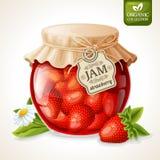 在玻璃的草莓酱 免版税库存照片