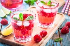 在玻璃的莓mojito 免版税图库摄影