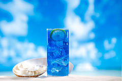 在玻璃的蓝色融雪冰在海海滩背景 库存图片