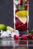 在玻璃的蔓越桔柠檬水与冰块 库存图片