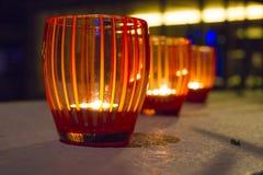 在玻璃的蜡烛 库存照片