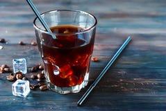 在玻璃的被冰的咖啡 免版税库存照片