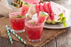 在玻璃的西瓜饮料 库存图片