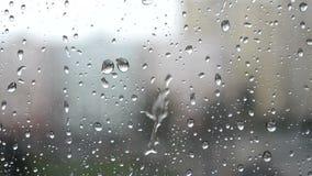 在玻璃的雨珠 股票视频