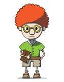 在玻璃的滑稽的动画片红头发人书呆子天才与 图库摄影