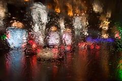 水滴在玻璃的 免版税库存照片