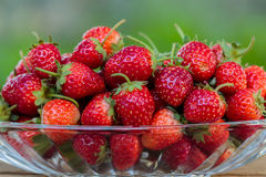 在玻璃盘的新鲜的草莓果子 免版税库存图片