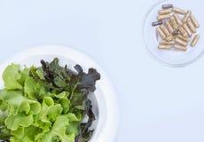 在玻璃盘的膳食补充剂胶囊与新vegetabl 免版税库存照片