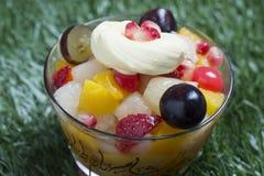 在玻璃碗的新鲜水果沙拉在草背景 库存图片