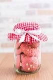 在玻璃罐,有格子花呢披肩织品的盖帽的草莓曲奇饼 库存图片