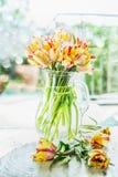 在玻璃花瓶的可爱的郁金香束用在桌上的水在春日背景 库存照片