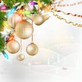 在玻璃EPS 10后的圣诞节风景 免版税图库摄影
