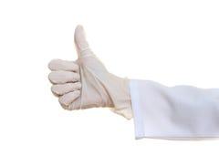 在医疗手套的手 库存照片