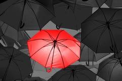 在黑白伞的红色伞 图库摄影