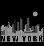 在黑白传统化的曼哈顿地平线 图库摄影