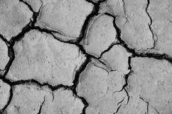 在黑白口气的干燥和破裂的地球 免版税库存图片
