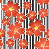 在黑白条纹背景的无缝的花卉样式 库存照片