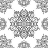 在黑白概述的无缝的花卉坛场样式 图库摄影