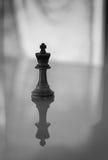在黑白照片的国王棋子 免版税库存照片