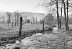 在黑白的小河 免版税图库摄影