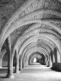 在黑白的教会曲拱 库存图片