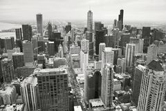 在黑白的芝加哥地平线 免版税库存照片
