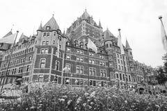 在黑白的魁北克市城堡 免版税库存照片