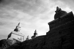 在黑白的黑城市废墟 免版税库存图片