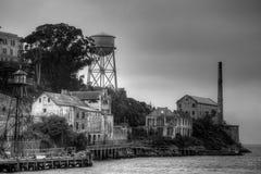 在黑白的Alcatraz 免版税库存照片
