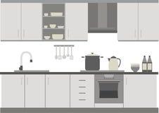 在黑&白色的厨房内部 免版税库存照片