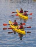 在水的两艘皮船 免版税库存照片