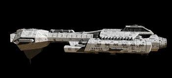 在黑的侧视图的太空船 免版税库存图片