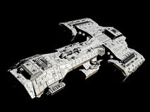 在黑的前面角度图的太空飞船 库存照片