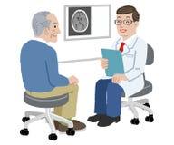 在他的办公室医治和他的资深患者 免版税库存照片
