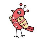 在头的可爱的鸟装饰 animat的漫画人物 库存照片
