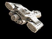 在黑的后方角度图的太空飞船 库存照片