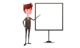 在介绍的商人与whiteboard 库存照片