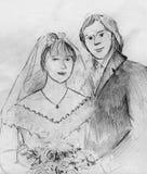 在他们的婚礼的年轻夫妇 免版税库存图片