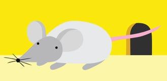 在他的孔附近的小的老鼠 库存例证