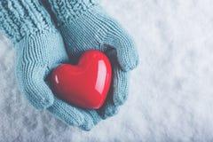 在轻的小野鸭被编织的手套的妇女手在雪背景中拿着美好的光滑的红色心脏 爱,圣华伦泰概念 库存图片