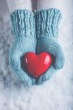 在轻的小野鸭被编织的手套的妇女手在雪背景中拿着美好的光滑的红色心脏 爱,圣华伦泰概念 免版税库存图片
