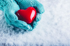 在轻的小野鸭被编织的手套的妇女手在雪背景中拿着美好的光滑的红色心脏 St华伦泰概念 免版税库存图片