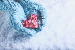 在轻的小野鸭被编织的手套的妇女手拿着在雪的美好的纠缠的葡萄酒红色心脏 爱,圣华伦泰概念 库存图片