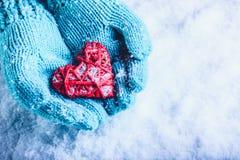 在轻的小野鸭被编织的手套的妇女手拿着在雪的美好的纠缠的葡萄酒红色心脏 St华伦泰概念 免版税库存照片