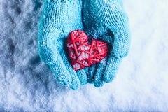 在轻的小野鸭被编织的手套的妇女手拿着在雪的美好的纠缠的葡萄酒红色心脏 St华伦泰概念 免版税图库摄影