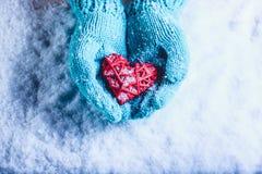 在轻的小野鸭被编织的手套的妇女手拿着在雪的美好的纠缠的葡萄酒红色心脏 St华伦泰概念 库存图片