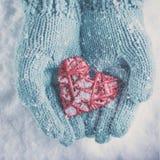 在轻的小野鸭被编织的手套的妇女手拿着在雪背景的美好的光滑的红色心脏 爱,圣华伦泰概念 图库摄影