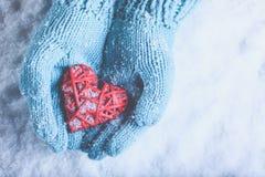在轻的小野鸭被编织的手套的妇女手拿着美丽在雪的纠缠的葡萄酒红色心脏 爱,圣华伦泰概念 免版税库存照片