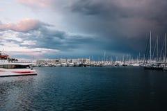 在水的很多白色游艇 在海洋水的小船 一条白色游艇 树的分支 美好的日落 A 库存图片